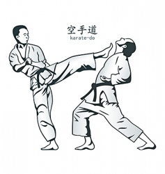 karate fight vector image vector image