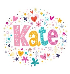 Kate female name decorative lettering type design vector