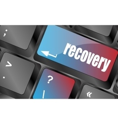 Key with recovery text on laptop keyboard button vector