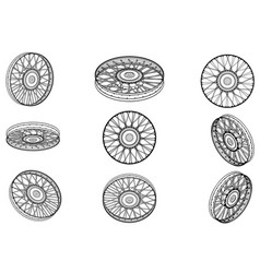 motorcycle wheels on a white vector image