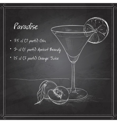 Paradise alcoholic cocktail on black board vector image
