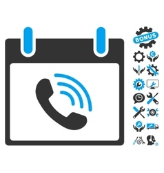 Phone call calendar day icon with bonus vector