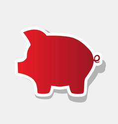Pig money bank sign new year reddish icon vector