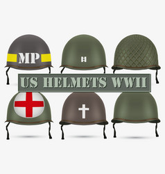 Set of military us helmets m1 wwii vector