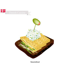smorrebrod with omelet the national dish of denma vector image