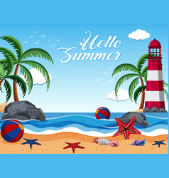 Summer background with lighthouse on the island vector