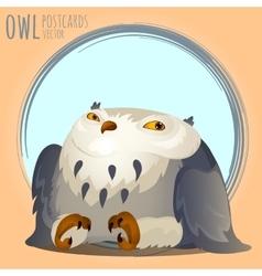 Tapered grey owl cartoon series vector