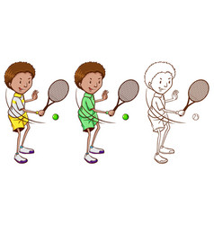 Tennis player in three sketches vector