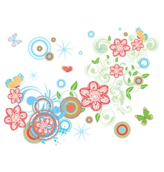 Vintage Floral with Butterflies2 vector image vector image