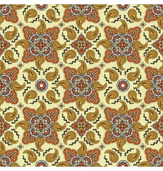 yellow orange paisly pattern vector image