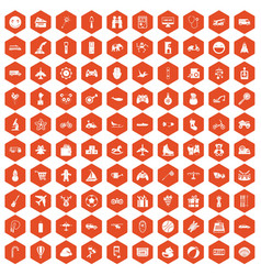 100 toys for kids icons hexagon orange vector