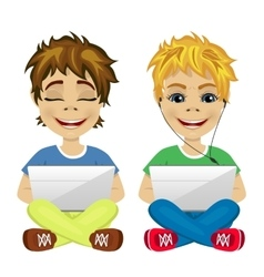 Two young gamers sitting on the floor using laptop vector