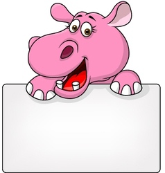 Funny Hippo cartoon with blank sign vector image