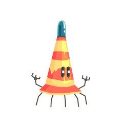 Cute cartoon robot traffic cone character vector
