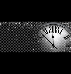 2018 new year banner with clock vector image vector image