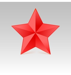 Five pointed star with shadow red color vector