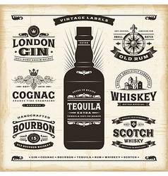 Vintage alcohol labels collection vector image