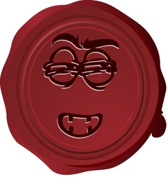 Wax seal smiley 17 vector