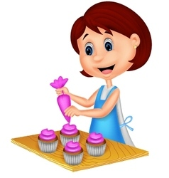 Cartoon woman with apron decorating cupcakes vector