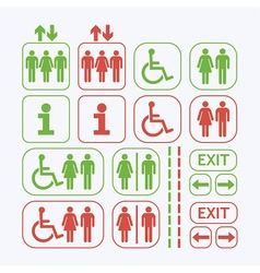Line man and woman public access icons set vector