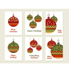 Assorted decorative xmas balls decoration red and vector