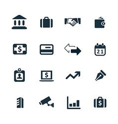 bank icons set vector image vector image