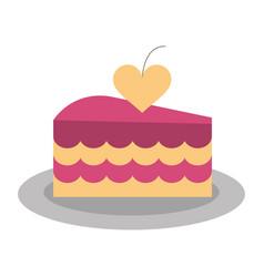Cake heart flat vector