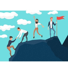 Concept of teamwork business people in mountains vector