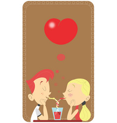 Couple in love sipping in the same glass in a vector