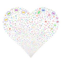 Dollar stars fireworks heart vector