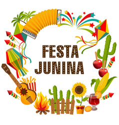 festa junina cartoon background vector image vector image