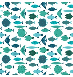 fish pattern blue vector image vector image