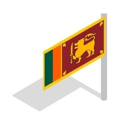 Flag of Sri Lanka with flagpole icon vector image vector image