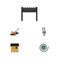 Flat icon garden set of hosepipe barbecue pump vector