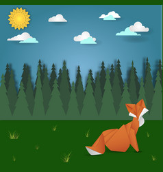 Fox on forest meadow landscape vector
