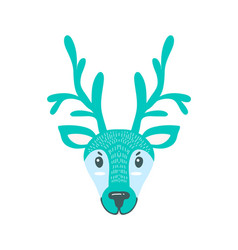 Furry north pole deer with long branchy horns vector