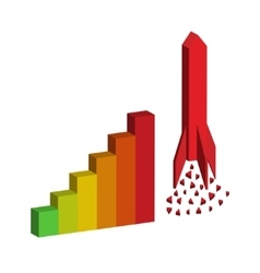 graph with rocket vector image vector image