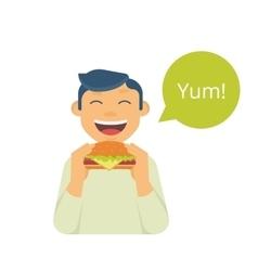 Happy boy eating a big hamburger vector image vector image