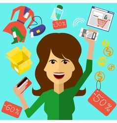 Happy woman with a card and phone in hands vector image