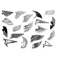 Heraldic vintage wings set vector