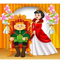 King and queen wearing crowns vector