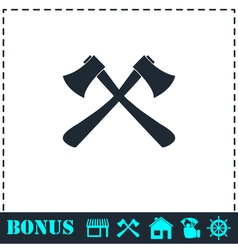 Lumberjack axes crossed icon flat vector