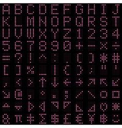 Pink dot digital font and symbol set vector