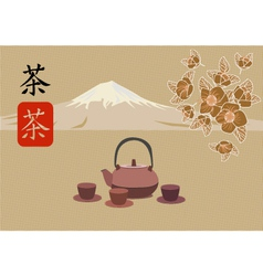 Sakura tea ceremony vector