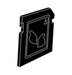 sd card icon in black style isolated on white vector image
