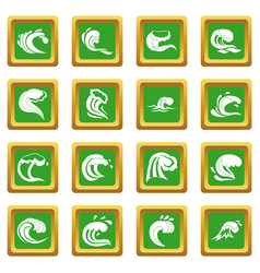 Sea waves icons set green vector