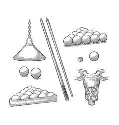Set billiard stick balls chalk pocket and lamp vector