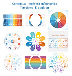 Set templates infographics for eight positions vector