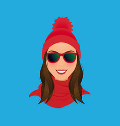 Smiling hipster woman face in sunglasses red pom vector