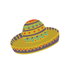 Sombrero hat with mexican ornament cartoon vector